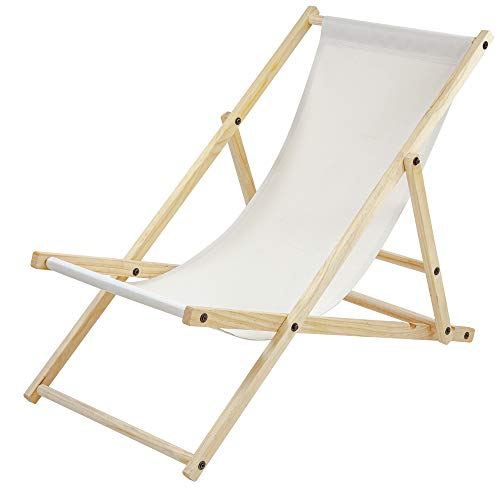 Albatros Gartenliege Sun Beige klappbar Strand-Stuhl Holz Outdoor Terrasse