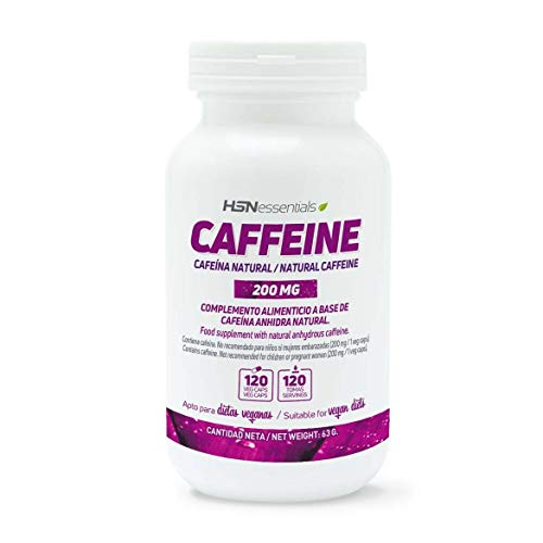 Cafeína Natural de HSN 200 mg | Extracción de Granos de Café Verde, Máxima Energía, Estimulante, Quema Grasas, Antioxidante | Vegano, Sin Gluten, Sin Lactosa, 120 Cápsulas Vegetales