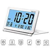 Petit Réveil de Voyage Pliable Rétro-éclairage, CESHUMD Horloge Digital Silencieux Écran LCD...