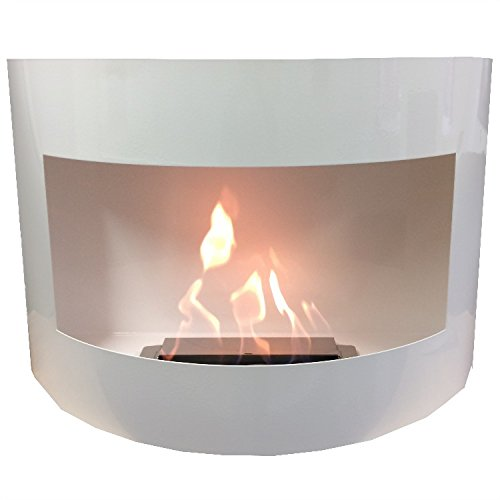 Ethanol Fireplace Stove, Wall Model Monaco High Shine Curved + Free 24 Decorative Stones