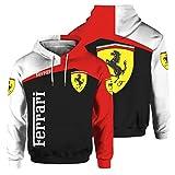 Sudadera con Capucha para Hombre De Manga Larga con Estampado Digital del Logotipo De Ferrari (1,S)