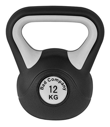 Bad Company Kettlebell I Kugelhantel aus Kunststoff I Schwunghantel Workout in verschiedenen Gewichtsstufen I 12 kg (Black & White)