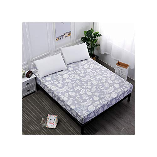 Oudiy 1Pc Polyester Bed Fitted Sheet Mattress Cover Printing Bedding Linens with Elastic Band Double Queen 160X200cm,Huiseyumao,220cmx200cmx25cm