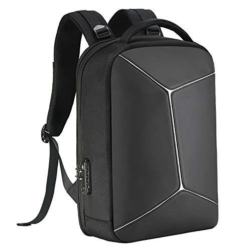 COOSKY Anti-theft Backpack with RFID Pocket Waterproof Business Geek Laptop Bag with USB Charging Port and Earphone Port, Reflective Travel Bag with TSA-Approved 3-digit Lock fits most to 15.6 inch for Men & Women Black