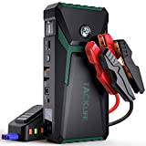 TACKLIFE T8 800A Peak 18000mAh Car Jump Starter with LCD Display (up to 7.0L Gas, 5.5L Diesel Engine), 12V Auto Battery Booster with Smart Jumper Cable, Quick Charger (Green)