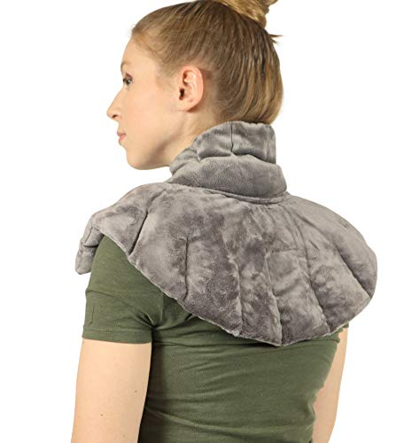 Mars Wellness Heated Microwaveable Neck and Shoulder Wrap - Herbal Hot/Cold Deep Penetrating Weighted Herbal Aromatherapy Shoulder and Neck Therapy Wrap - Made in The USA (Charcoal)