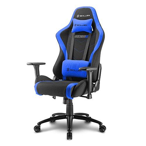 Sharkoon Skiller SGS2 Hochwertiger Gaming Stuhl mit Stoffbezug, Robuste Stahlrahmenkonstruktion, Flexibel einstellbare 3-Wege-Armlehnen, Stabile Gasdruckfeder, 60 mm Rollen, schwarz/blau