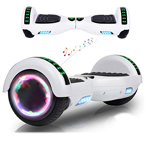 RangerBoard Hoverboard Pas Cher Blanc - 6,5' - Bluetooth - Moteur 700W - Vitesse Max 15KM/H - Gyropode Auto Equilibre - Lumière - Cadeaux Enfants et Adultes