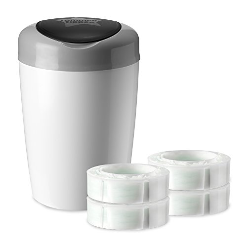 8. Tommee Tippee Simplee Diaper Pail Starter Set with 4 Refills, Grey