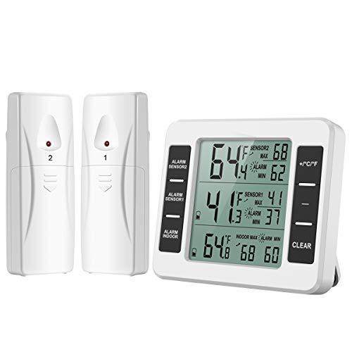 ORIA Termometro per Frigorifero Digitale, Termometro Interno/Esterno del Congelatore con 2 Sensori...