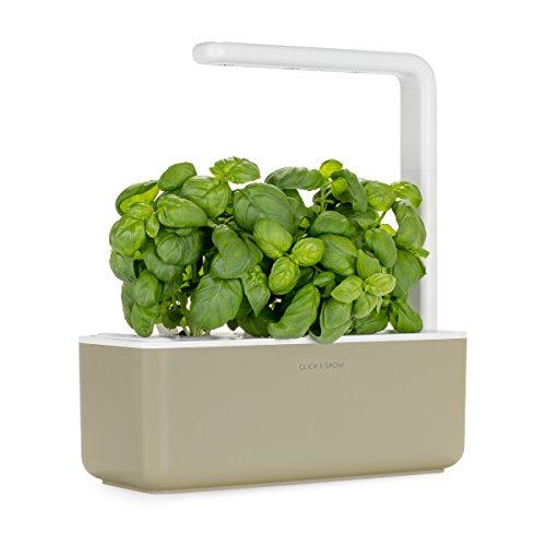 Click & Grow Smart Garden 3 Indoor Herb Garden (Includes Basil Plant Pods), Beige