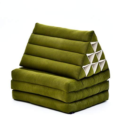 Leewadee Materasso Pieghevole a Tre segmenti: Comodo Tappeto con Cuscino Triangolare in Eco-kapok Fatto a Mano, Materasso thailandese, 170 x 53 cm, Verde