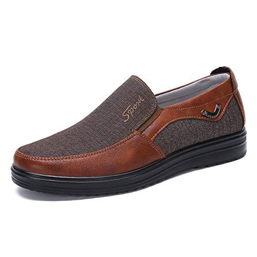 Zapatos Hombre Cuero Mocasines Casual Zapatillas Casa para Centavo Ponerse Conducción Formal Negocios Barco Cómodos Caminar (47 EU, Rojo 3)
