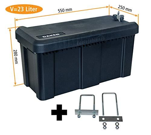 Deichselbox mit Schloss inkl. U-Bügel Halter, Werkzeugkasten für Anhänger Staukiste 23 ltr Anhängerbox, Daken B23-1+MON4002