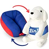 All-in-one Kids Travel Neck Pillow & Cute Plush Toy Pet Puppy | Neck Pillow For Airplane Travel – Car Neck Pillow For Kids | 360° Comfortable Travel Pillow Convert Into Soft Stuffed Animal