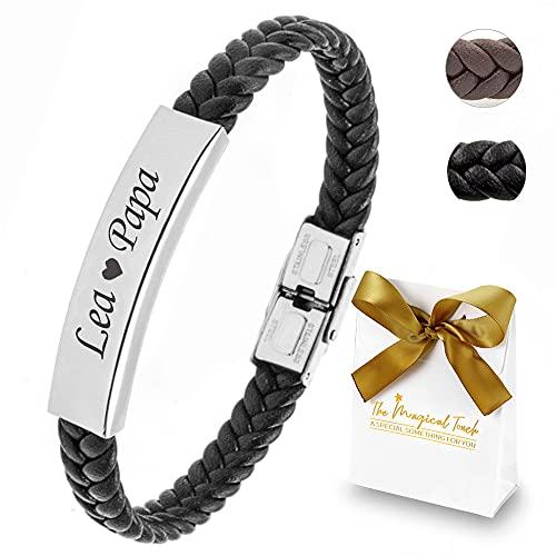 TMT Personalisiertes Leder Armband mit Gravur | braun schwarz| mit namen für Männer und Jungs...