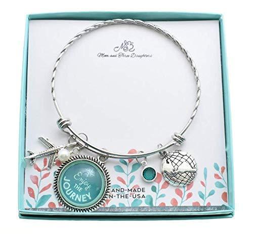 World Traveler Bangle Bracelet in Stainless Steel. Gift for...