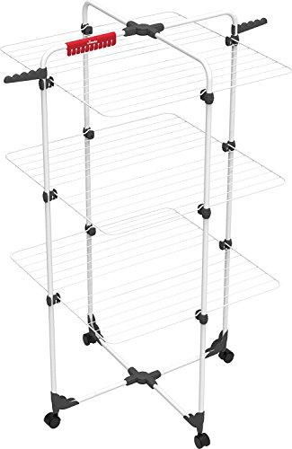 Vileda Mixer 3 Wäscheständer, 30 m Leinenlänge, 3 Ebenen für 3 Waschladungen, Flex-Gelenk, rollbar