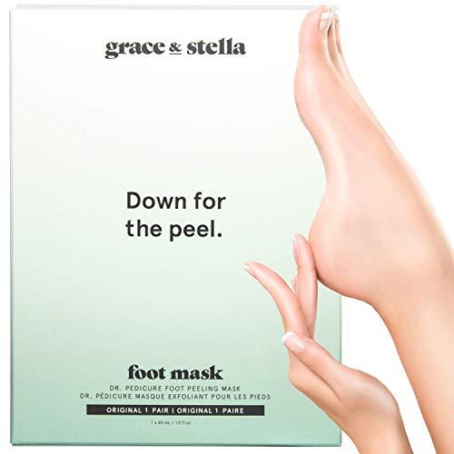 Mascarilla exfoliante para pies Grace & Stella   Tratamiento exfoliante profundo de la piel muerta,...