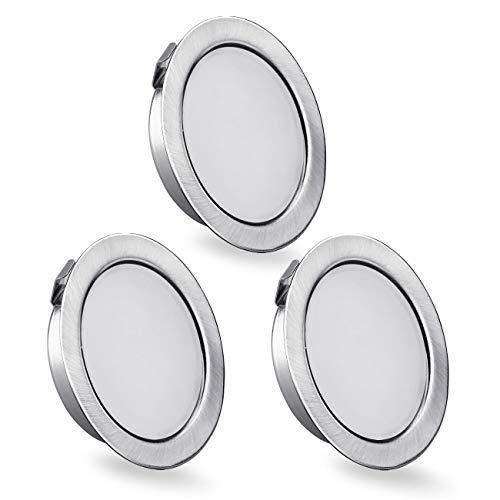 Set di 3 Faretti led da incasso per mobili, 230 V, 3,5 W, IP44 G4, 15 mm ultra piatti Faretti LED da Incasso, 3000 K, Bianco Caldo, per cappa da cucina, bagno, faretto da incasso (Nichel spazzolato)
