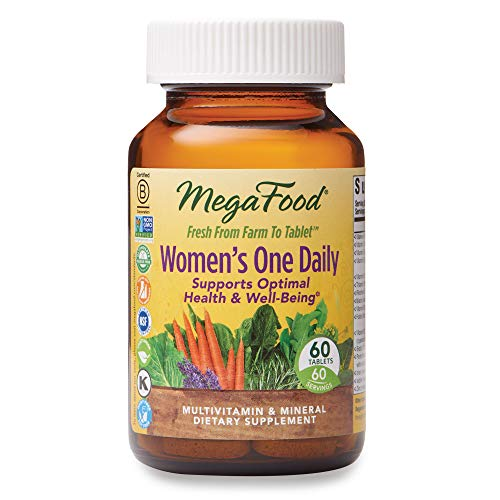 MegaFood, Women's One Daily, Daily Multivitamin and Mineral Dietary Supplement with Vitamins C, D, Folate and Iron, Non-GMO, Vegetarian, 60 Tablets (60 Servings) (FFP) 1