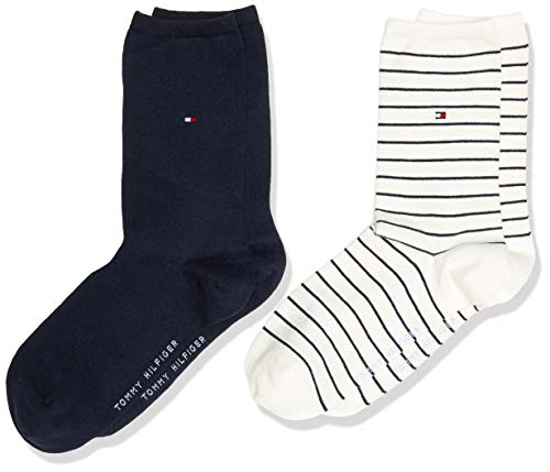 Tommy Hilfiger Small Stripe Women's Socks (2 Pack) calze, bianco sporco, 31/34 (Pacco da 2)...