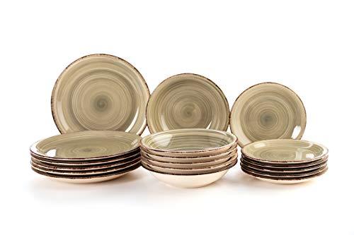 Quid Complete Modern Porcelain Dinnerware for 6 People (18 Pieces) Plains, bowls, Dessert Plates, Stoneware, Pearl Gray (Vita)