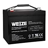 Weize 12V 75AH Deep Cycle Battery for Wayne ESP25 WSS30V Backup Sump Pump, Trolling Motor, Solar System, Mobility Wheelchair, General Use