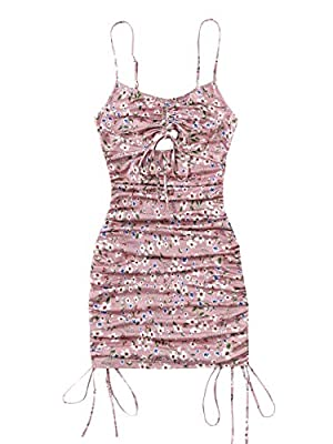 Fabric slight stretch Features: cut out, drawstring side, spaghetti strip, sleeveless, knot front, ditsy floral, overall print, cami top, boho dress, bodycon mini dress Suitable for beach, vacation, travel, street, summer, school, dating Machine or h...