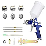 HVLP Spray Gun with Replaceable 1.4mm 1.7mm 2.0mm Nozzles Needle Cap Automotive Air Paint Sprayer Gun Kit with 600cc Capacity Cup for Car Primer,Furniture Surface Spraying,Wall Painting,Base Coatings