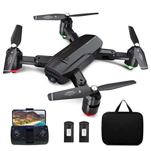 Dragon Touch Drone GPS avec Caméra,Vidéo en Direct FPV 1080P HD avec Musique de Fond,Quadricoptère Pliable,GPS Retour à Domicile,Suivez-Moi,Vol Orbital GPS,2 Batteries RC et Sac de Transport - DF01G