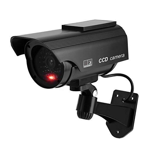 Drrot, Finta telecamera di sicurezza telecamera a cupola CCTV con luce lampeggiante e adesivo con avvertenza di sicurezza, uso interno ed esterno, per Case e Aziende, nero, VH0002-01