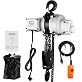 ANBULL 2200lbs Lift Electric Chain Hoist Single Phase Overhead Crane Hoist, G100 Double Chain Hoist with Two 360° Rotatable Hook for Garage Ceiling.(1Ton, 110V,10ft Lift Height)