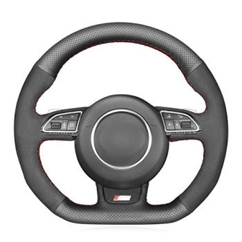 MEWANT Hand-Stitched Black Suede and Genuine Leather Car Steering Wheel Cover Wrap for Audi S1 (8X) S3 (8V) Sportback S4 (B8) Avant S5 (8T) S6 (C7) S7 (G8) RS Q3 (8U) SQ5 (8R)