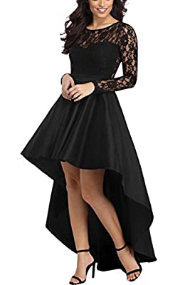 This sexy cocktail dresses featuring Lace bodice,long sleeves,a sweetheart lining and a high-low taffeta skirt. Stylish and Elegant Retro lace ruffle dress featuring long sleeve, slim belted waist and Hi low above knee bottom. The lace gown dress is ...