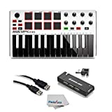 Akai Professional MPK Mini MKII White | 25-Key Ultra-Portable USB MIDI Drum Pad & Keyboard Controller with Joystick, VIP Software Download Included - Limited Edition