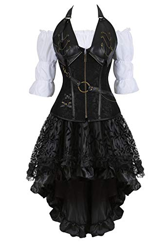 Grebrafan Retro Gothic Steampunk Leather Corset 3 Piece Outfits for Women Bustiers Skirt White Blouse Set