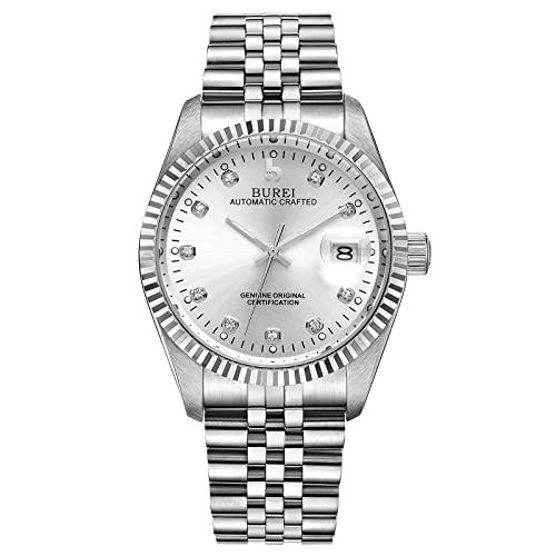 BUREI Luxus Herrenuhr mechanische Automatik Armbanduhr 24 Dial Analog Display Automatikuhr Lederband Edelstahlarmband Wasserdicht Stylish Armbanduhren (Silber)