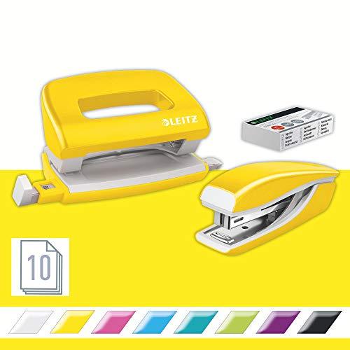 Leitz Set con Mini Cucitrice e Perforatore, Capacit fino a 10 Fogli, Include Punti, Gamma WOW,...