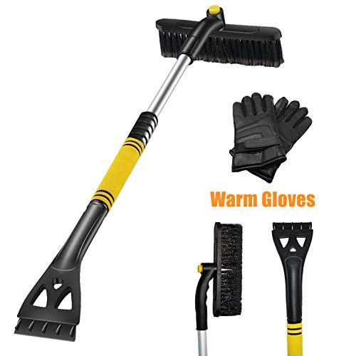 EDOU Extendable Snow Brush and Ice Scraper with Foam Grip Glove - Auto Window Windshield Snow Brush - Car Truck SUV Winter Snow Removal