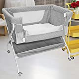 Co Sleeper Baby Bassinet Arms Reach Cosleeper Baby Bedside Crib Newborn Sleeper w/Large Storage Basket Easy Moving Bed Side Bassinet (Gray)