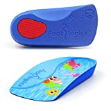 Footlogics Fun Kids Orthotic Shoe Insoles with Arch Support for Children's Heel Pain (Sever's Disease), Growing Pains, Flat Feet - Children's, Pair (Toddler 8-10, 3/4 Length - Blue)