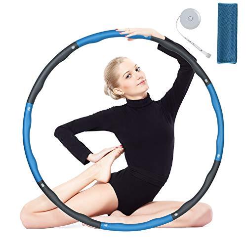 flintronic Fitness Hula Hoop, Gymnastik Kreis mit 4 Knoten Grün + Grau, Massage Hoola Hoop Reifen Geeignet (inkl Bandmaß & Handtuch) für Sport/Zuhause/Bauchformung (Nicht für Anfänger Geeignet)