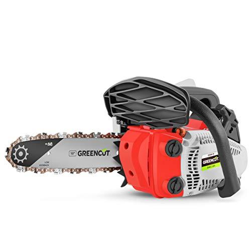Greencut GS2500 Motosega a Scoppio Benzina 25,4cc-1,4cv-Spada 10' Leggera e Potente, 0 V, Grigio, 25 cc