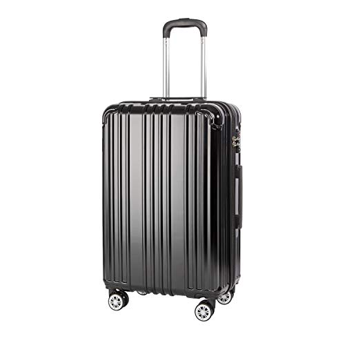 COOLIFE Hartschalen-Koffer Rollkoffer Reisekoffer Vergrößerbares Gepäck (Nur Großer Koffer Erweiterbar) PC+ABS Material mit TSA-Schloss und 4 Rollen (Schwarz, Mittelgroßer Koffer)