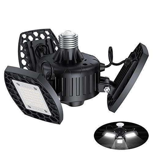 Aogled Garage Light 60W,LED Garage Lights E26/E27 Deformable,6000LM 6000K Three-Leaf Garage Ceiling Fixture,Adjustable Aluminum Panels Light for Garage Basement Warehouse Workshop Home(No Sensor)
