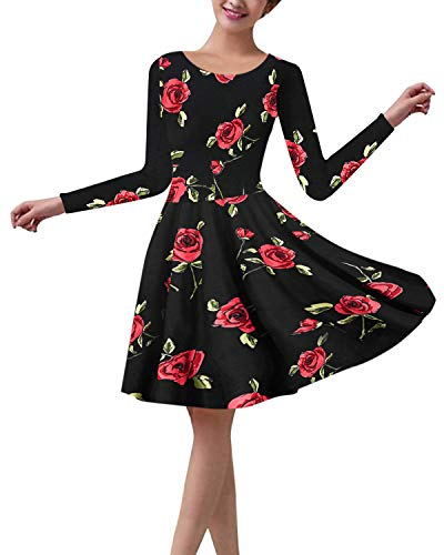 ZANZEA Vestido Retro para Mujer 1950 Vintage Rockabilly Flor