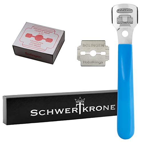 Schwertkrone Pediküre Set Hornhauthobel + 10 Hornhauthobelklingen Hornhautentferner (blau - Hobel)