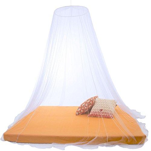CelinaSun Sumkito Moskitonetz XXL Doppelbett weiß Mückennetz rund Bettvorhang rundum geschlossen