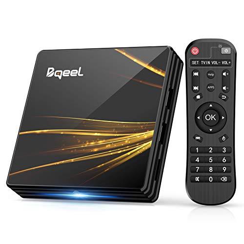 Android TV Box 10.0【4GB RAM+64GB ROM】 Bqeel TV Box RK3318 Quad-Core 64bit Cortex-A53 con 2k*4K UHD H.265, 5GHz / 2.4GHz WiFi ,BT 4.0 ,USB 3.0 Smart TV Box